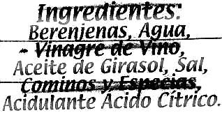"""Berenjenas encurtidas aliñadas """"Calzado"""" Origen Almagro - Ingredientes"""