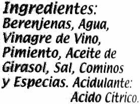 """Berenjenas encurtidas embuchadas """"Calzado"""" Origen Almagro - Ingredients"""