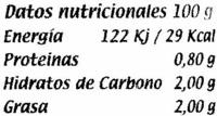 """Berenjenas encurtidas embuchadas """"Calzado"""" Origen Almagro - Informació nutricional"""