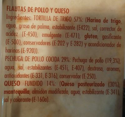 Flautas de pollo y queso - Ingredients - en