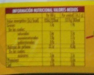Flautas de jamon y queso - Información nutricional