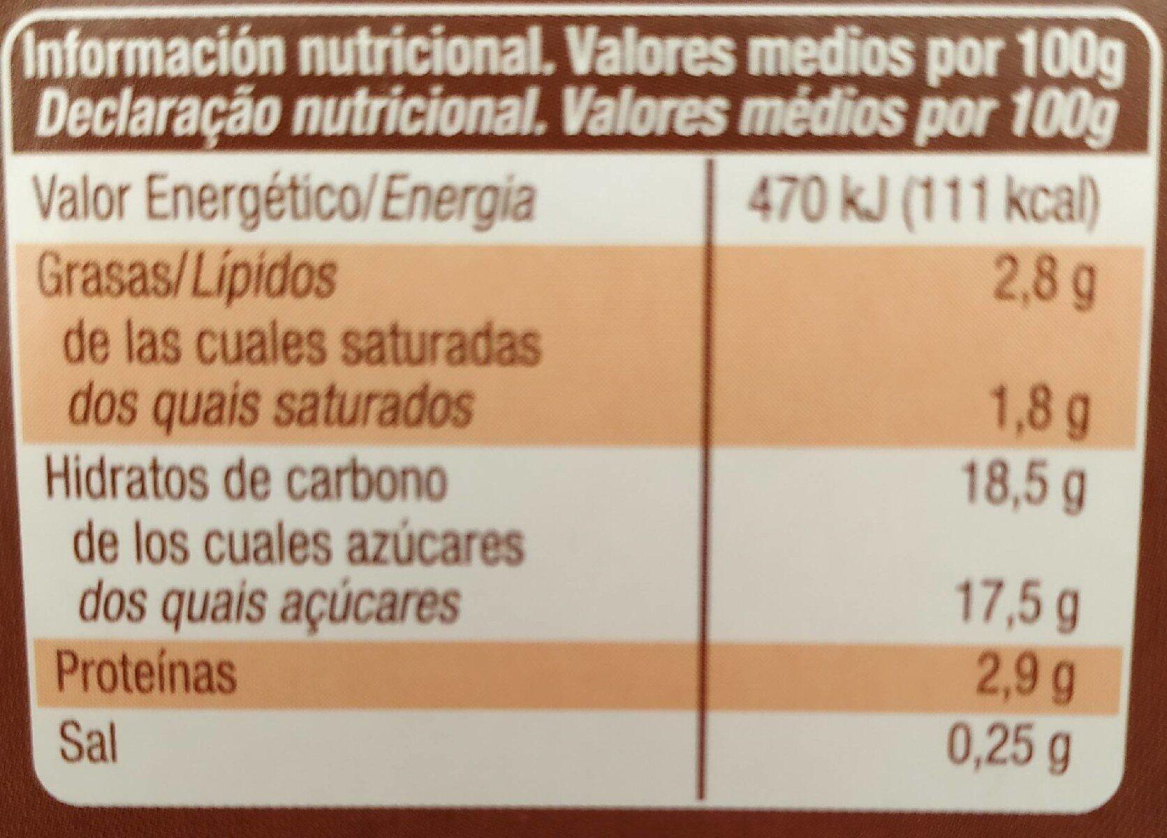 Crema bombón original - Informació nutricional