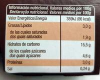 Crema bombón sin azúcares añadidos - Informació nutricional - es