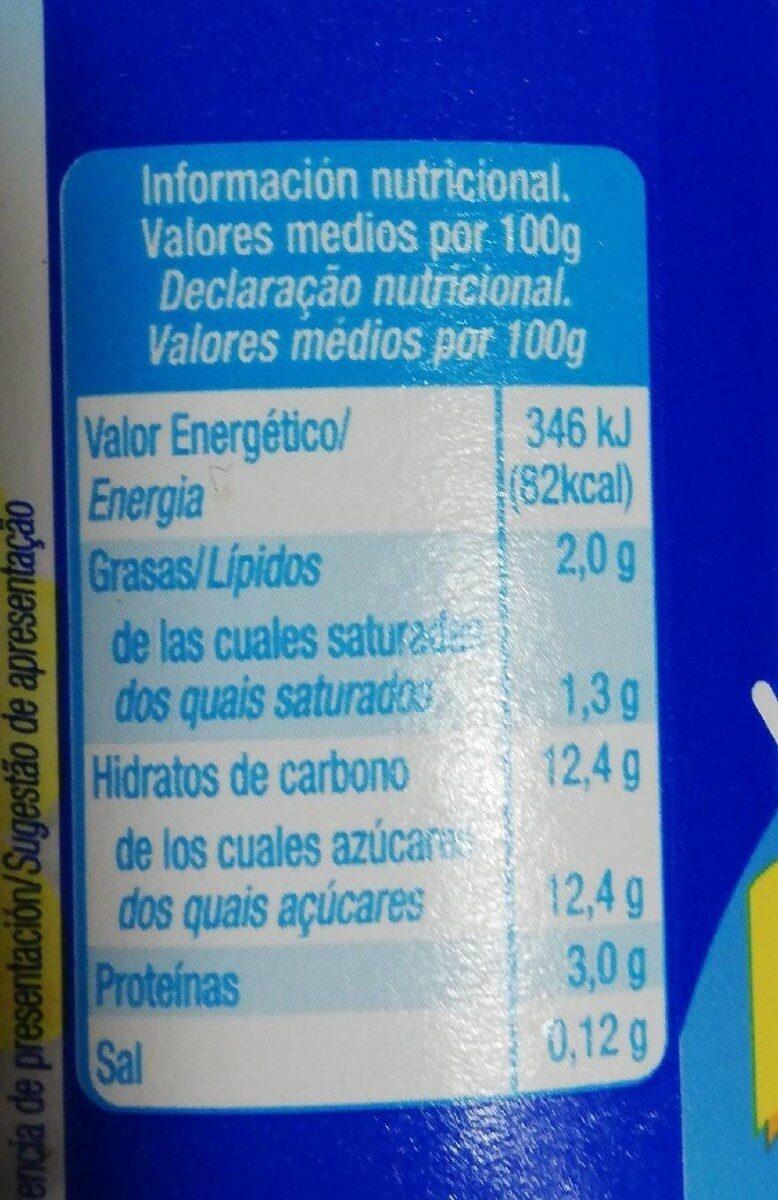 Yogur vainilla - Informació nutricional - es