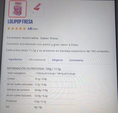 Lollipop - Información nutricional