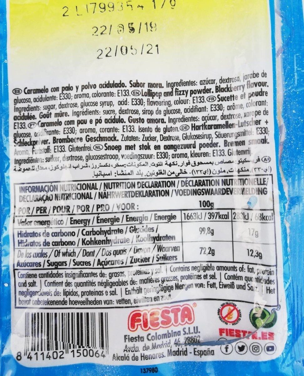Fresquito pintalenguas - Nutrition facts