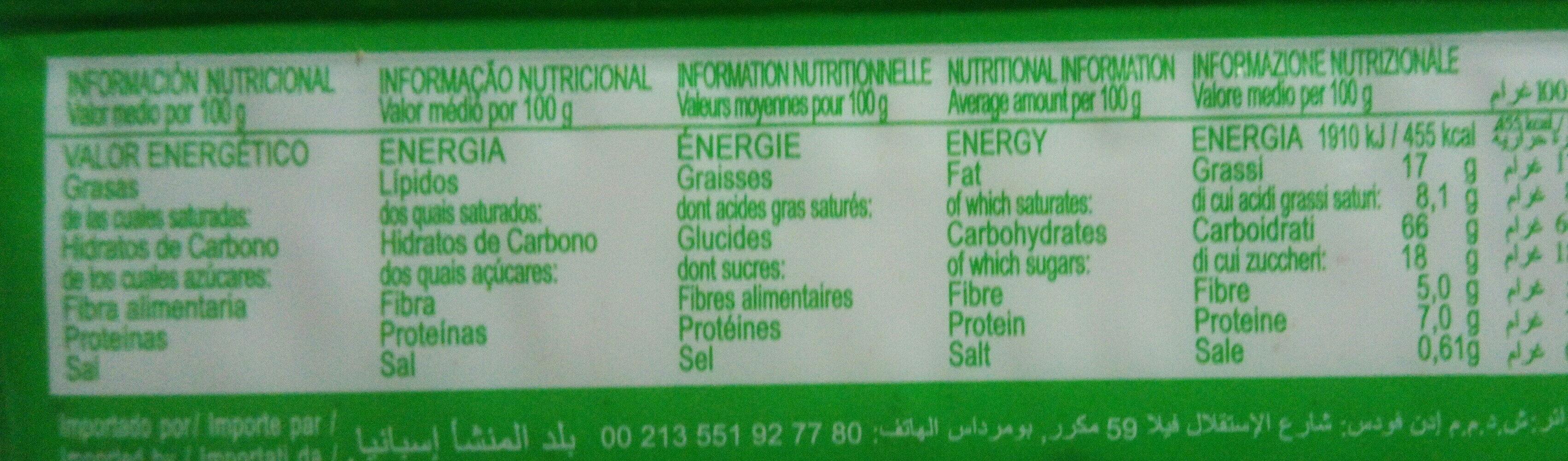 Cookies integrales de muesli con pasas - Nutrition facts - es