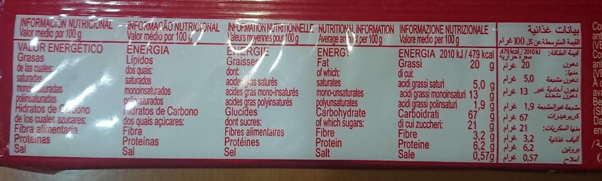 Cookies con chips de chocolate - Informations nutritionnelles - fr