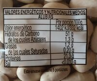 Alubias - Información nutricional