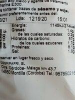 Picos integrales - Información nutricional - es