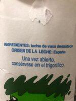 Leche Desnatada UHT - Ingrediënten - es