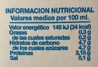 Leche Desnatada UHT - Voedingswaarden - es