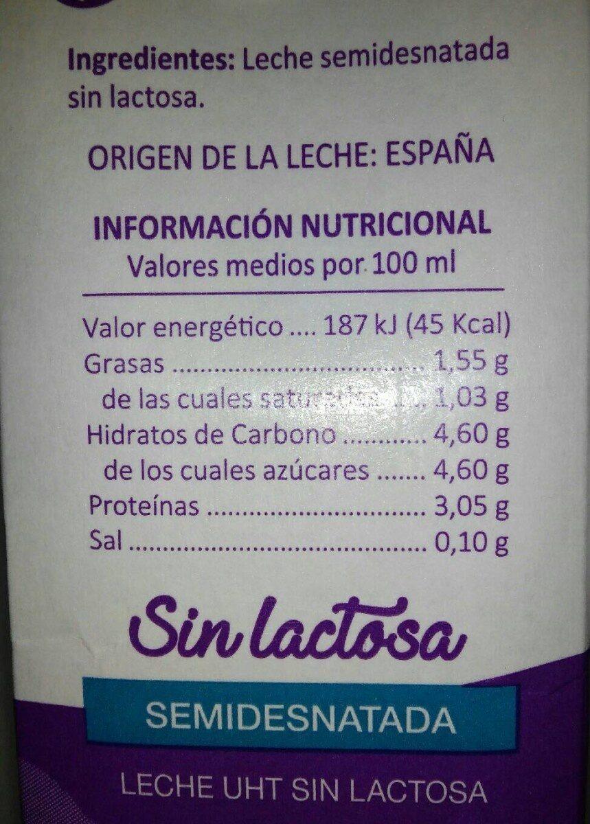 Leche sin lactosa - Información nutricional