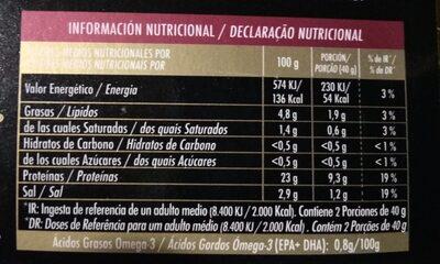 Salmón rojo de Alaska ahumado - Informació nutricional