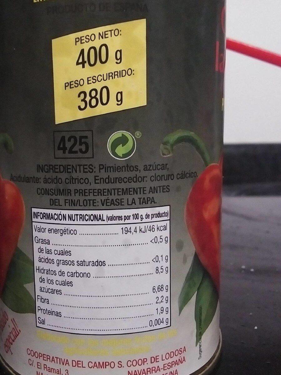 Pimientos del piquillo entreverado - Nutrition facts - es