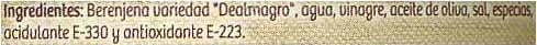 Berenjenas de Almagro con aliño suave lata 420 g - Ingredientes - es