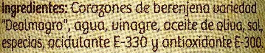 Corazones de berenjenas de Almagro - Ingredientes - es