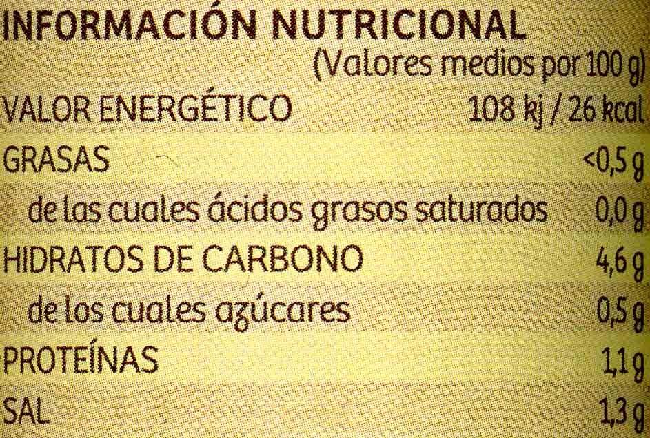 Corazones de berenjenas de Almagro - Información nutricional - es