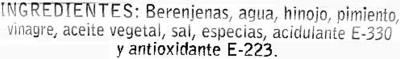 "Berenjenas encurtidas embuchadas ""Antonio"" Origen Almagro - Ingredientes"
