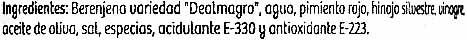 Berenjenas encurtidas embuchadas origen Almagro - Ingredients - es