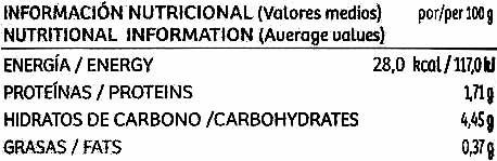 Berenjenas encurtidas embuchadas origen Almagro - Informació nutricional - es