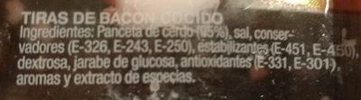 Tiras de Bacon Ahumado Natural - Ingredients