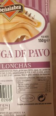 Pechuga de pavo en lonchas - Ingredientes - es