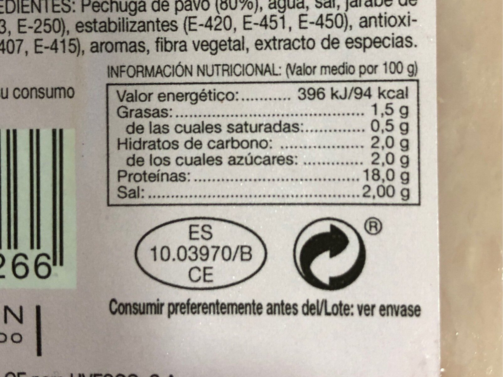 Pechuga de pavo en lonchas - Información nutricional - es