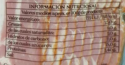 Bacón ahumado con madera de haya - Información nutricional