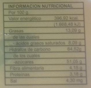 Frutas de Aragón con chocolate - Informació nutricional - es