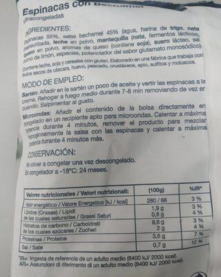 Espinacas Con Bechamel Bolsa - Nutrition facts