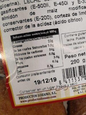 Magdalenas integrales - Nutrition facts - es