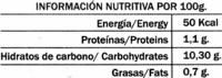 """Mezcla de frutas del bosque congeladas """"La Cuerva"""" - Informació nutricional - es"""