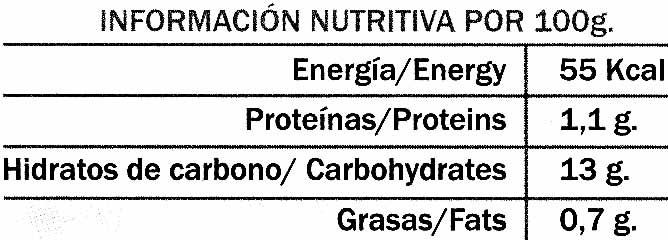 """Moras congeladas """"La Cuerva"""" - Informació nutricional"""