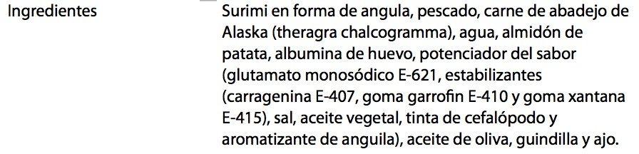 Angulas de surimi al ajillo aceite de oliva - Ingredientes - es