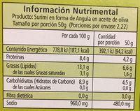 Angulas de surimi al ajillo aceite de oliva - Información nutricional - es