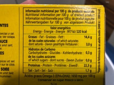 Cabo de Penas - Informació nutricional - es