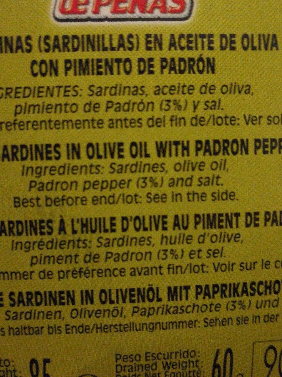 Sardinillas aceite oliva con pimiento de padrón - Ingrédients - fr