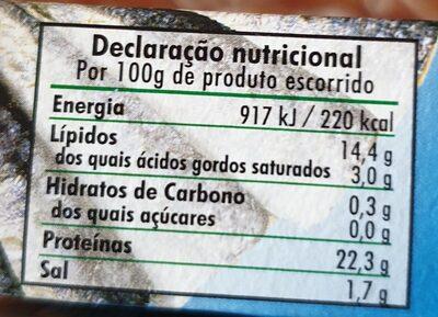 Sardinillas - Voedingswaarden - es