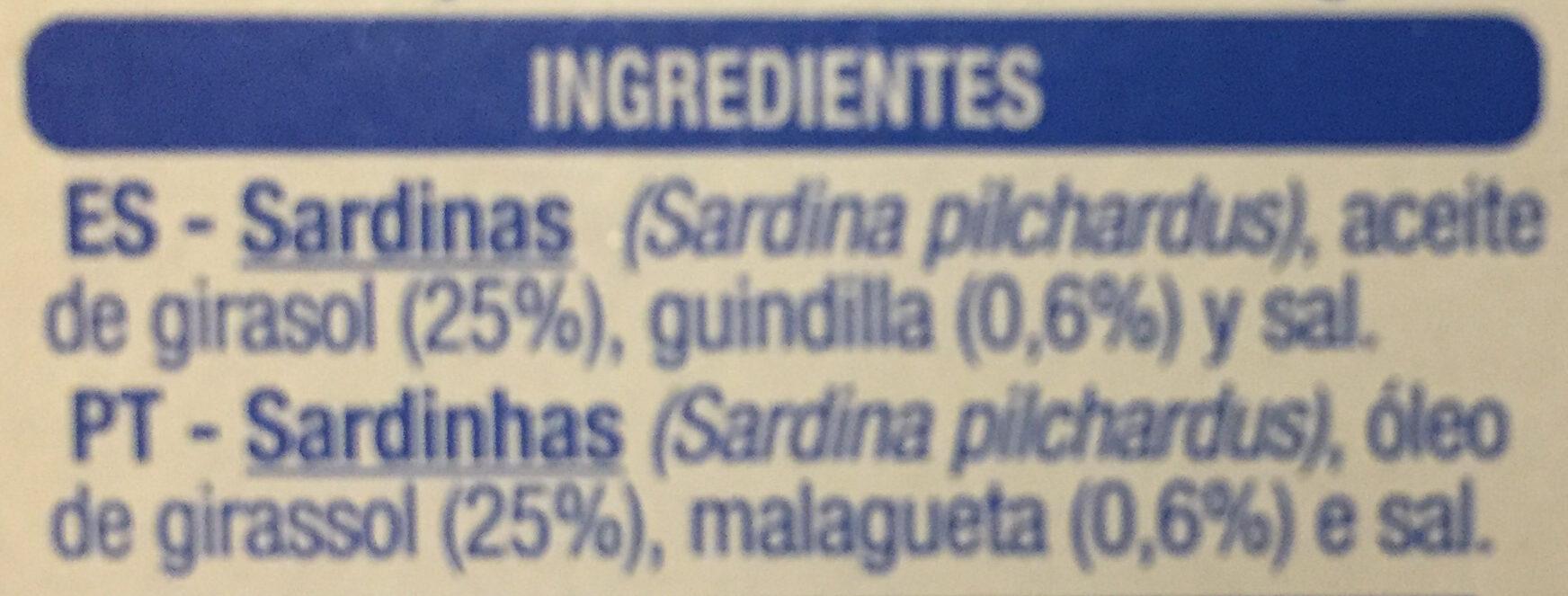 Sardinillas picantes en aceite de girasol - Ingrediënten - es