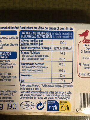 sardinas (sardinillas) en aceite de girasol al limon - Nutrition facts