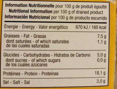 Moules à la sauce escabèche bio - Nutrition facts - fr