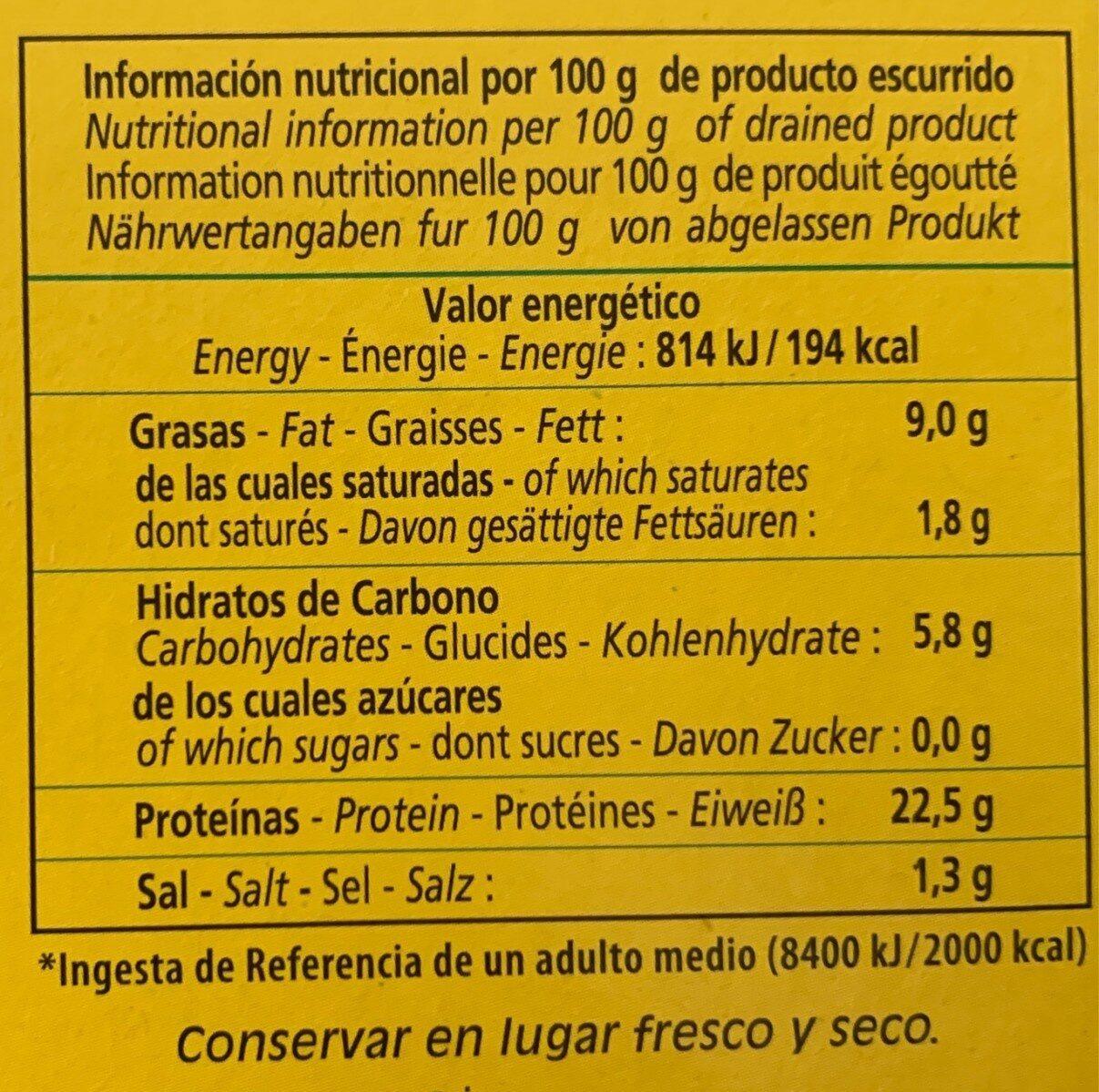 Tacos de pota - Información nutricional - es