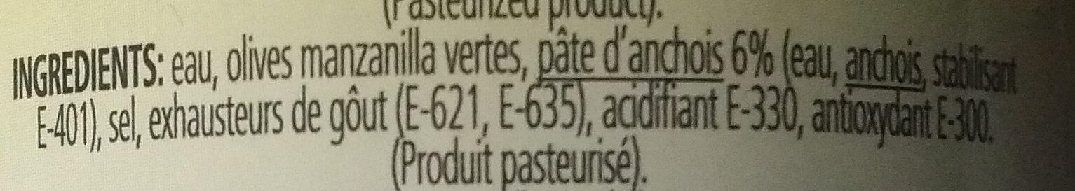 Olives vertes farcies à la pâte d'anchois - Ingredients - fr