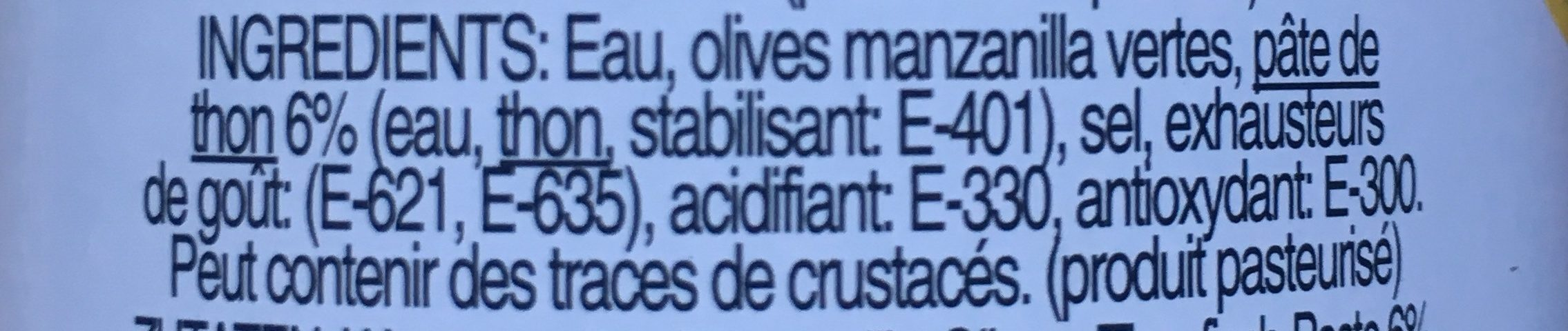 Olives vertes farcies au thon - Ingrediënten - fr