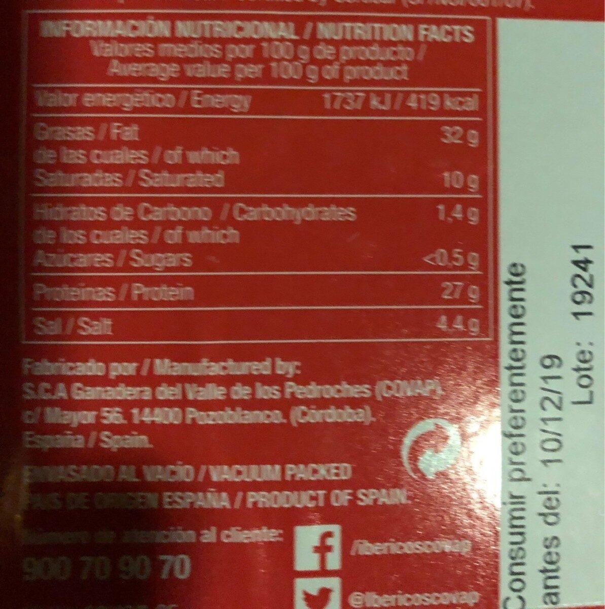 Paleta de bellota ibérica - Informació nutricional