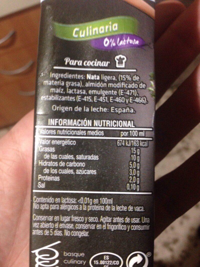 Nata selección culinaria - Nutrition facts