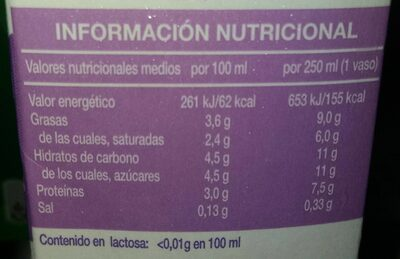 Leche sin lactosa entera - Nutrition facts