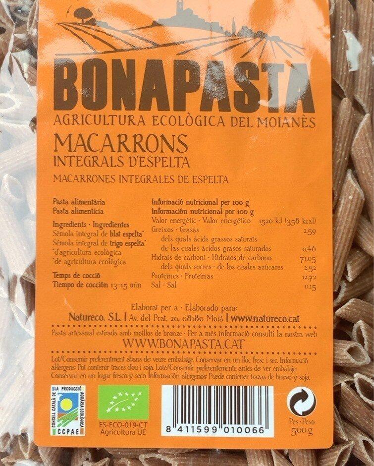 MACARRONS INTEGRALS D'ESPELTA - Producte - es