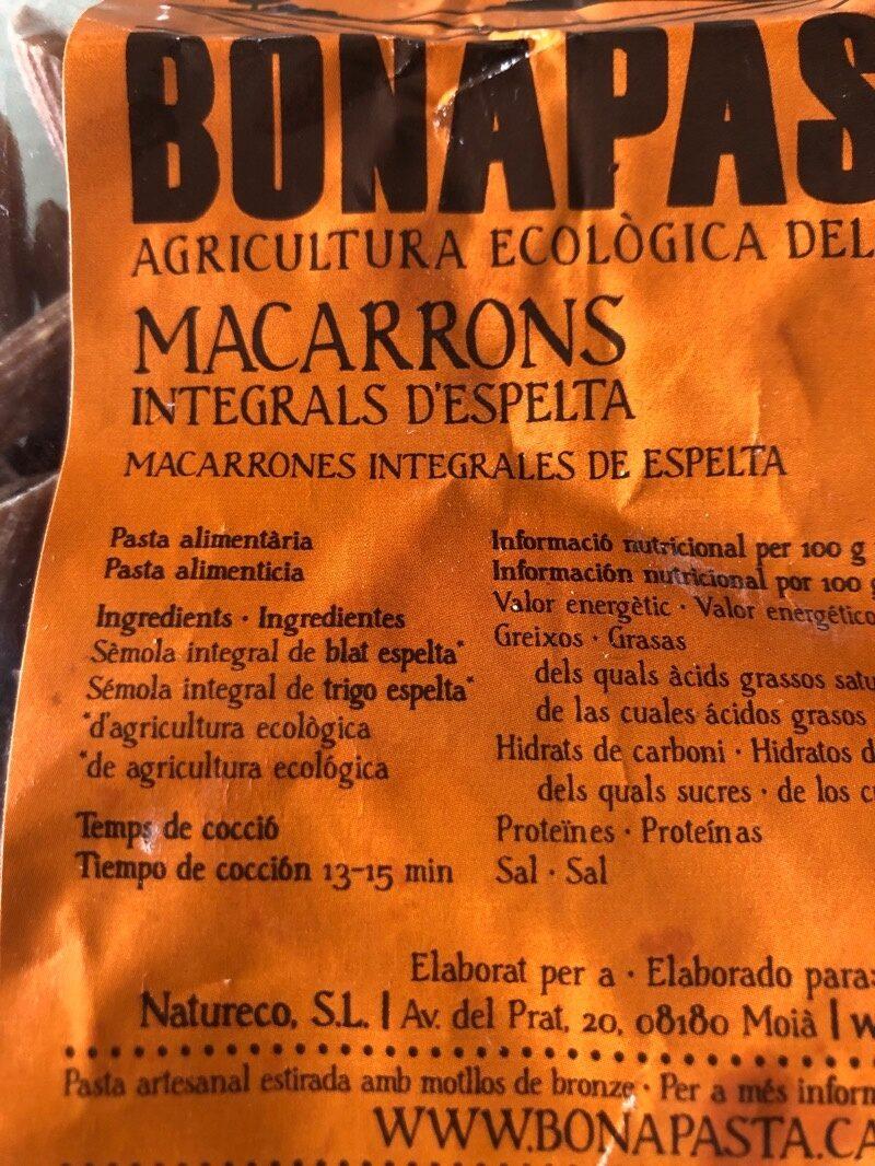 MACARRONS INTEGRALS D'ESPELTA - Ingredients - es